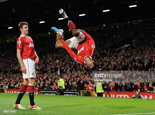 Nani of Manchester United celebrates scoring to make it 20 during the Barclays Premier League match between Manchester United and Tottenham Hotspur...