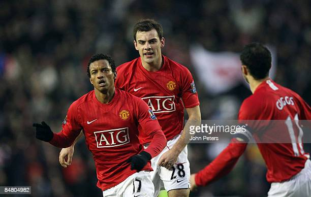 Nani of Manchester United clashes celebrates scoring their first goal during the FA Cup sponsored by eon Fifth Round match between Derby County and...
