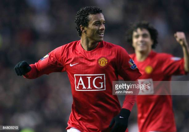Nani of Manchester United clashes celebrates scoring their first goal during the FA Cup sponsored by e.on Fifth Round match between Derby County and...