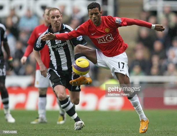Nani of Manchester United clashes with Nicky Butt of Newcastle United during the Barclays FA Premier League match between Newcastle United and...