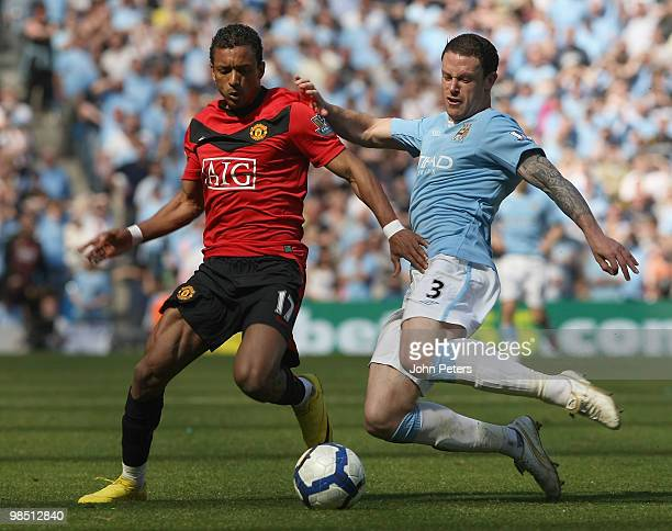 Nani of Manchester United clashes with Wayne Bridge of Manchester City during the Barclays Premier League match between Manchester City and...