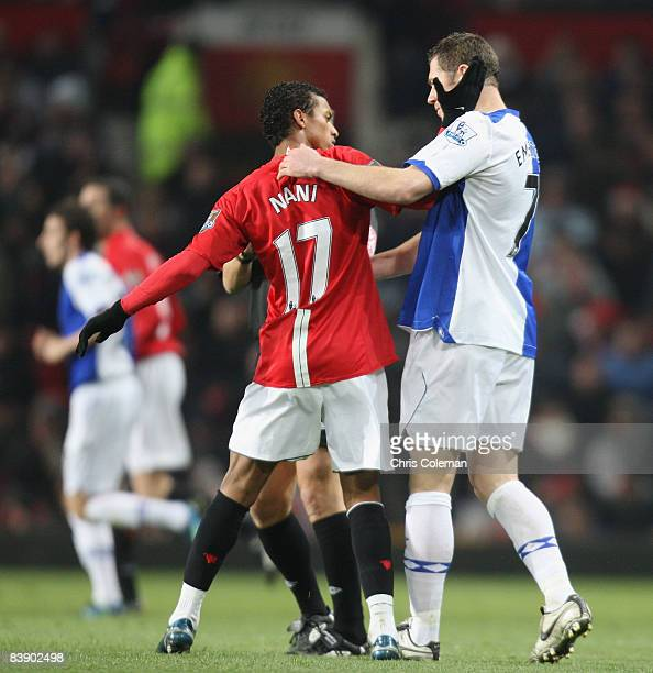 Nani of Manchester United confronts Brett Emerton of Blackburn Rovers during the Carling Cup QuarterFinal match between Manchester United and...