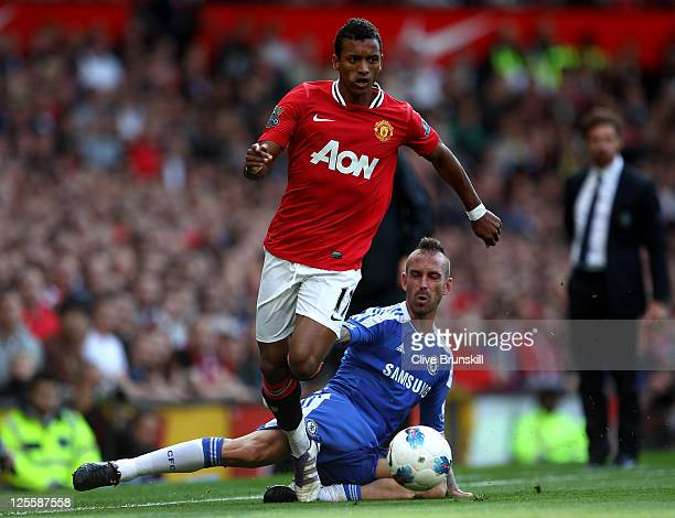 Nani of Manchester United goes past Raul Meireles of Chelsea during the Barclays Premier League match between Manchester United and Chelsea at Old...