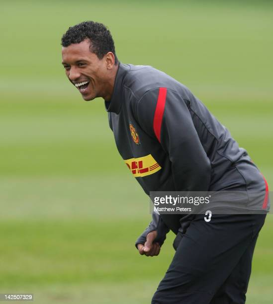 Nani of Manchester United in action during a first team training session at Carrington Training Ground on April 6, 2012 in Manchester, England.