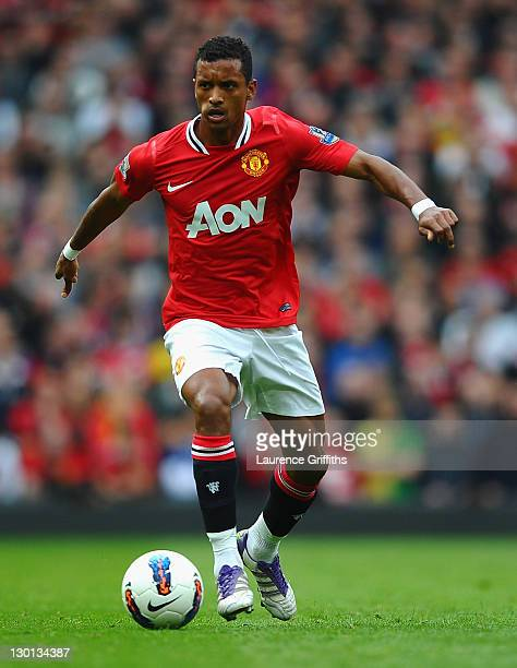 Nani of Manchester United in action during the Barclays Premier League match between Manchester United and Manchester City at Old Trafford on October...