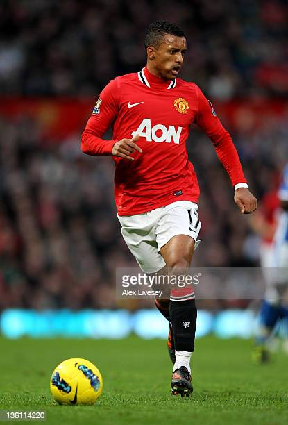 Nani of Manchester United in action during the Barclays Premier League match between Manchester United and Wigan Athletic at Old Trafford on December...
