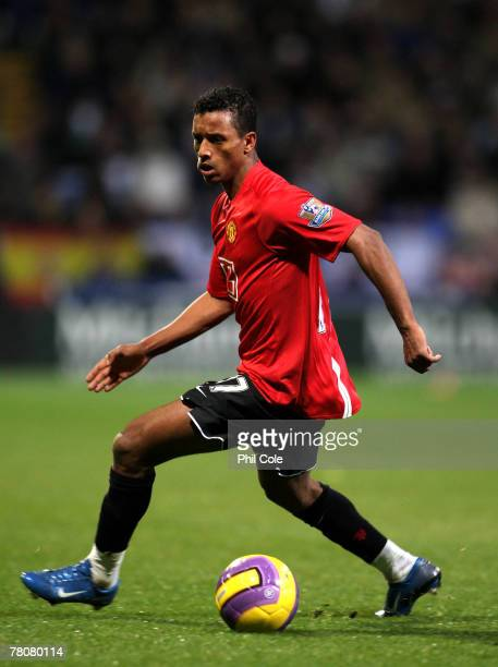 Nani of Manchester United in action during the Barclays Premiership match between Bolton Wanderers and Manchester United at the Reebok Stadium on...