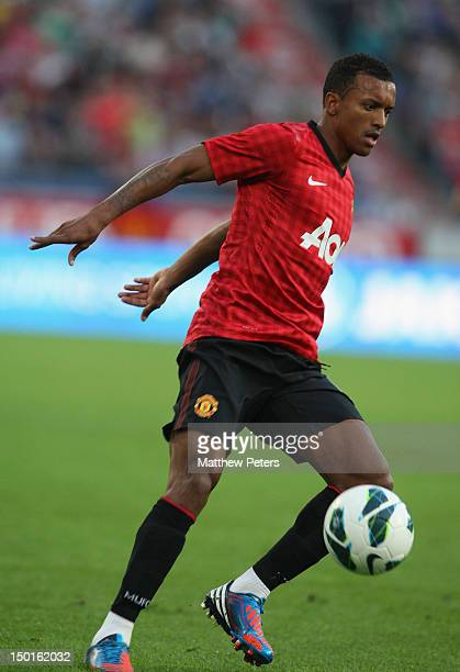 Nani of Manchester United in action during the pre-season friendly match between Hannover 96 and Manchester United at AWD Arena on August 11, 2012 in...
