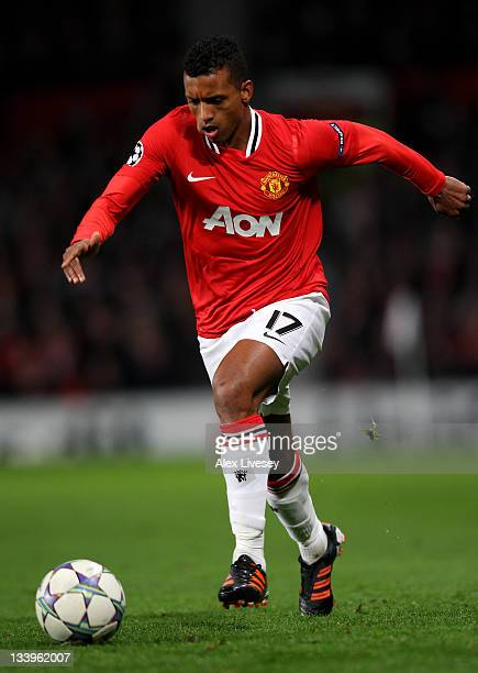 Nani of Manchester United in action during the UEFA Champions League Group C match between Manchester United and SL Benfica at Old Trafford on...
