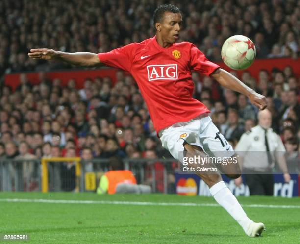 Nani of Manchester United in action during the UEFA Champions League match between Manchester United and Villarreal at Old Trafford on September 17...