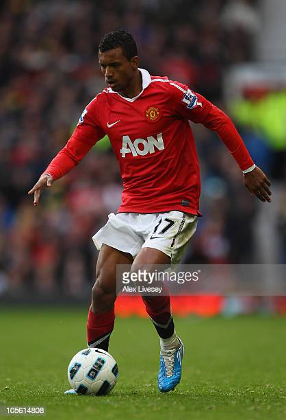 Nani of Manchester United runs with the ball during the Barclays Premier League match between Manchester United and West Bromwich Albion at Old...