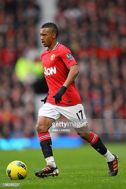 Nani of Manchester United runs with the ball during the Barclays Premier League match between Manchester United and Blackburn Rovers at Old Trafford...