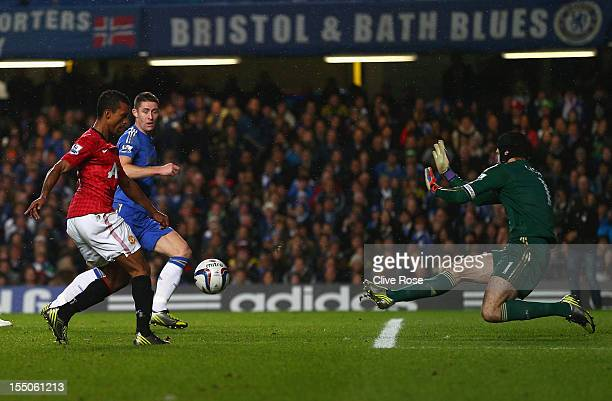 Nani of Manchester United scores his goal during the Capital One Cup Fourth Round match between Chelsea and Manchester United at Stamford Bridge on...