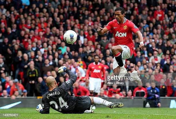 Nani of Manchester United scores his team's third goal during the Barclays Premier League match between Manchester United and Everton at Old Trafford...
