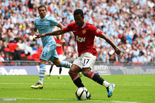 Nani of Manchester United scores the equalising goal during the FA Community Shield match sponsored by McDonald's between Manchester City and...