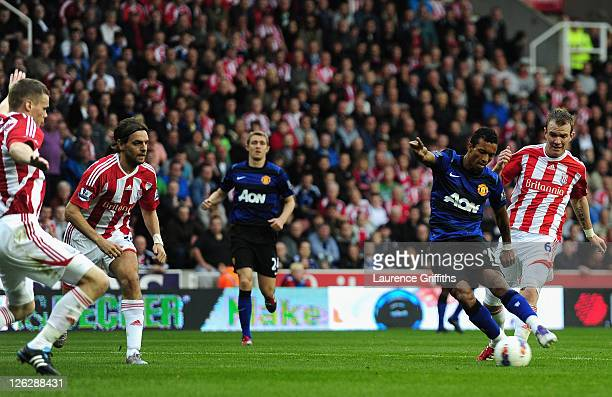 Nani of Manchester United scores the opening goal during the Barclays Premier League match between Stoke City and Manchester United at the Britannia...