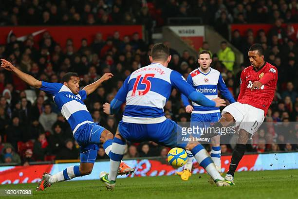 Nani of Manchester United scores the opening goal during the FA Cup Fifth Round match between Manchester United and Reading at Old Trafford on...