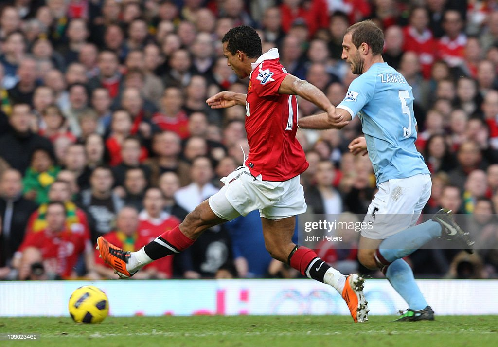 Nani of Manchester United scores their first goal during the Barclays Premier League match between Manchester United and Manchester City at Old Trafford on February 12, 2011 in Manchester, England.