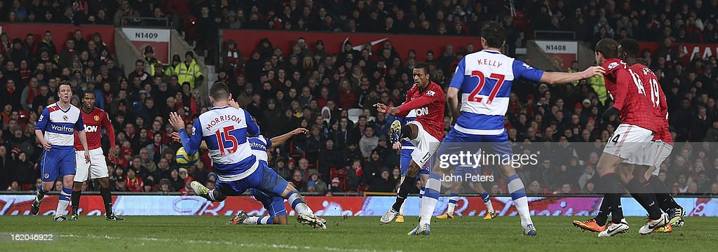 Nani of Manchester United scores their first goal during the FA Cup Fifth Round match between Manchester United and Reading at Old Trafford on February 18, 2013 in Manchester, England.