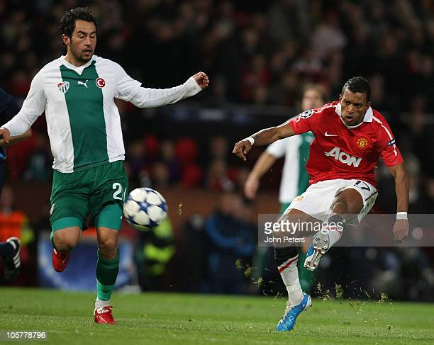 Nani of Manchester United scores their first goal during the UEFA Champions League Group C match between Manchester United and Bursaspor at Old...