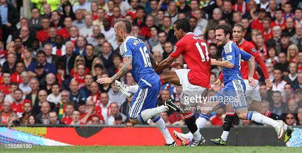 Nani of Manchester United scores their second goal during the Barclays Premier League match between Manchester United and Chelsea at Old Trafford on...