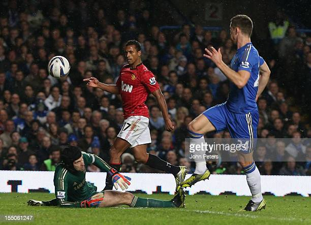 Nani of Manchester United scores their third goal during the Capital One Cup Fourth Round match between Chelsea and Manchester United at Stamford...