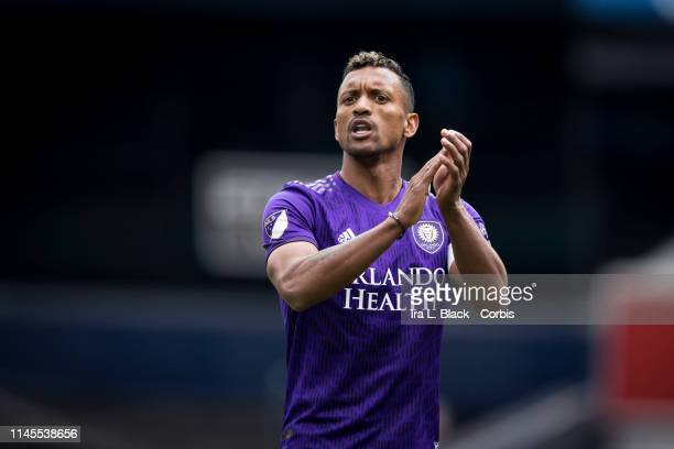 Nani of Orlando City claps his hands to teammate during the MLS match between New York City FC and Orlando City SC at Yankee Stadium on March 27 2019...