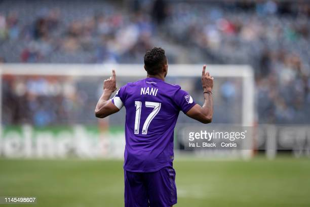 Nani of Orlando City holds up two fingers after scoring a goal in the 1st half of the MLS match between New York City FC and Orlando City SC at...