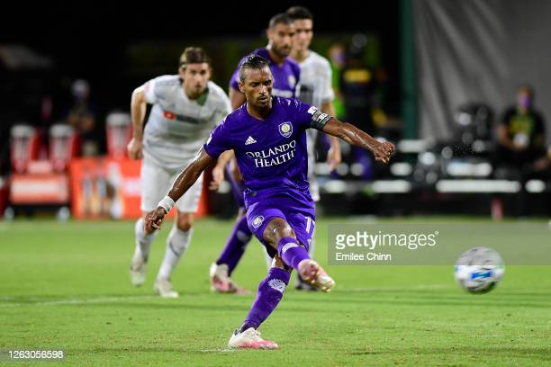 Nani of Orlando City misses a penalty kick during a quarter final match of MLS Is Back Tournament between Orlando City and Los Angeles FC at ESPN...