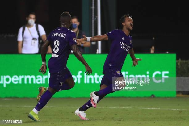 Nani of Orlando City SC celebrates the second goal of his team during a match between Orlando City and Inter Miami as part of MLS is back Tournament...