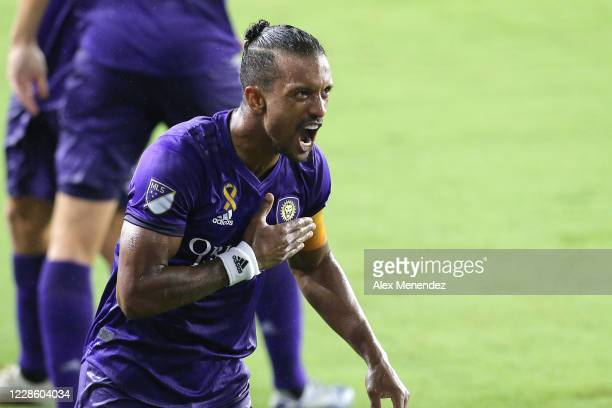 Nani of Orlando City SC celebrates the second goal of the night against Chicago Fire FC during a MLS soccer match at Exploria Stadium on September...
