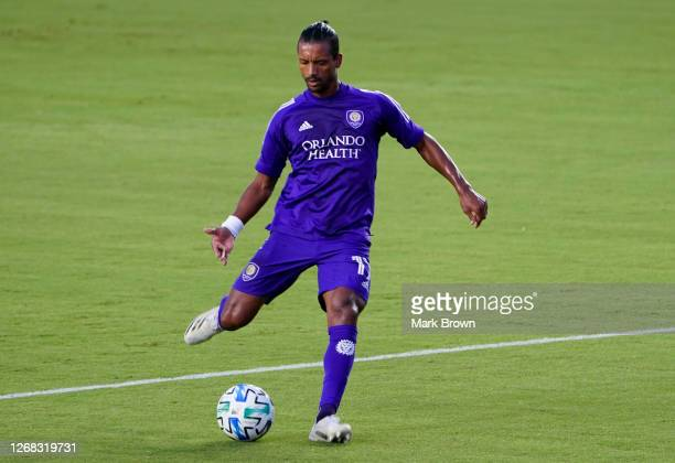 Nani of Orlando City SC controls the ball during a game against Inter Miami FC at Inter Miami CF Stadium on August 22, 2020 in Fort Lauderdale,...