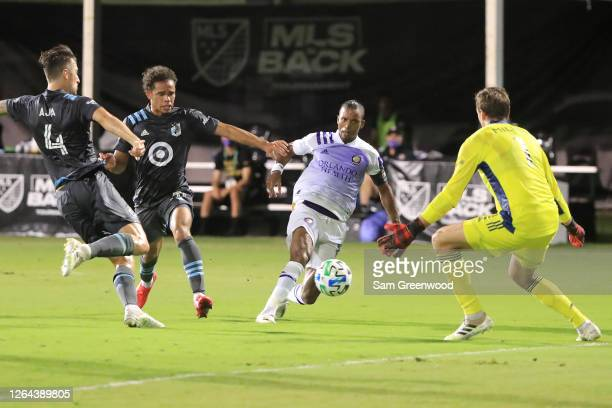 Nani of Orlando City shoots to score the first goal of a semifinal match of MLS Is Back Tournament between Orlando City and Minnesota United at ESPN...