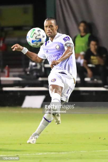 Nani of Orlando City shoots to score the second goal during a semifinal match of MLS Is Back Tournament between Orlando City and Minnesota United at...