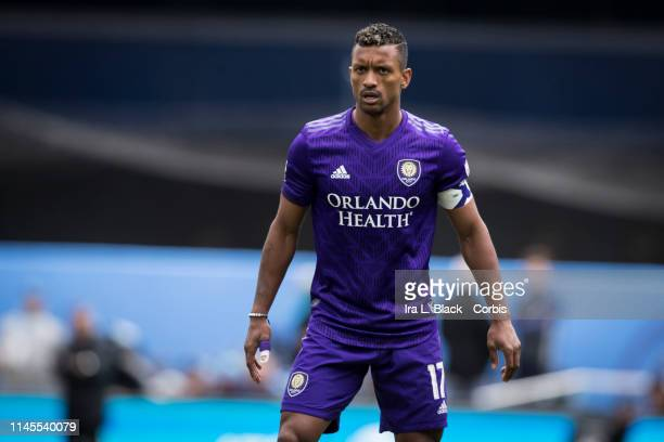 Nani of Orlando City shows his intensity during the MLS match between New York City FC and Orlando City SC at Yankee Stadium on March 27 2019 in the...