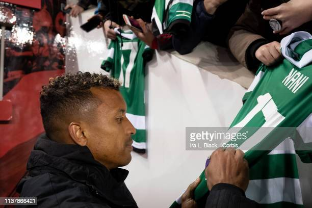Nani of Orlando City signs autographs for fans after the MLS match between Orlando City SC and New York Red Bulls at Red Bull Arena on March 23 2019...