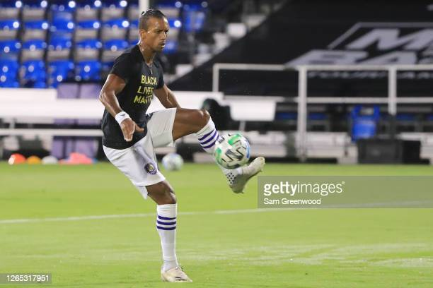 Nani of Orlando City warms up prior to the final match of MLS Is Back Tournament between Portland Timbers and Orlando City at ESPN Wide World of...