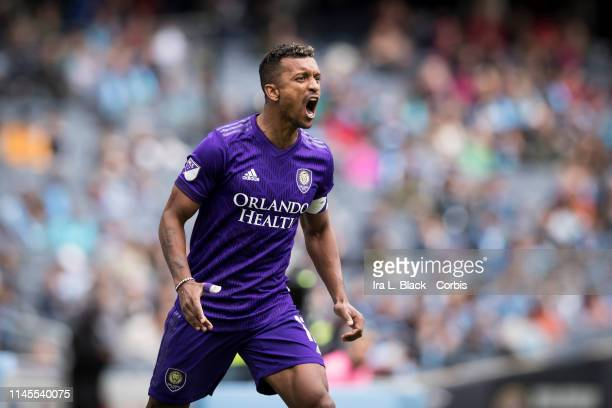 Nani of Orlando City yells during the MLS match between New York City FC and Orlando City SC at Yankee Stadium on March 27 2019 in the Bronx borough...