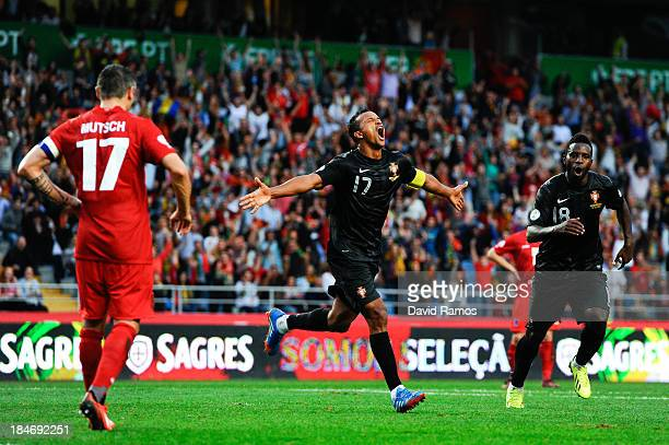 Nani of Portugal celebrates after scoring his team's second goal during the FIFA 2014 World Cup Qualifier match between Portugal and Luxembourg at...