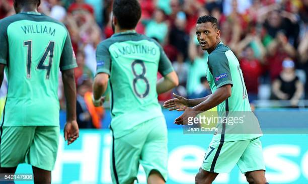 Nani of Portugal celebrates his goal during the UEFA EURO 2016 Group F match between Hungary and Portugal at Stade des Lumieres on June 22 2016 in...