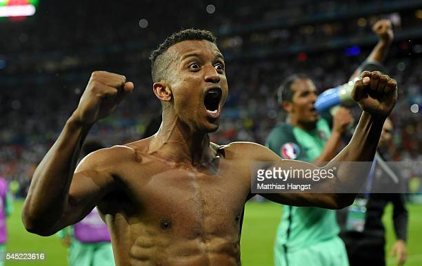 Nani of Portugal celebrates his team's win after the UEFA EURO 2016 semi final match between Portugal and Wales at Stade des Lumieres on July 6, 2016...