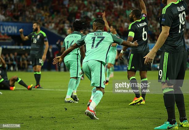 Nani of Portugal celebrates scoring a goal to make the score 2-0 during the UEFA Euro 2016 Semi Final match between Portugal and Wales at Stade des...
