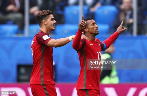 Nani of Portugal celebrates scoring his sides fourth goal with Andre Silva of Portugal during the FIFA Confederations Cup Russia 2017 Group A match...