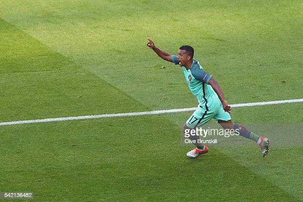 Nani of Portugal celebrates scoring his team's first goal during the UEFA EURO 2016 Group F match between Hungary and Portugal at Stade des Lumieres...
