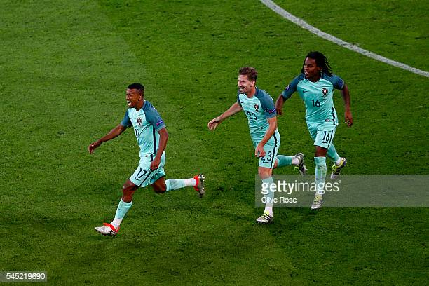 Nani of Portugal celebrates scoring his team's second goal during the UEFA EURO 2016 semi final match between Portugal and Wales at Stade des...