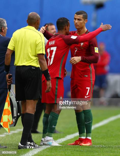 Nani of Portugal comes on for Cristiano Ronaldo of Portugal during the FIFA Confederations Cup Russia 2017 Group A match between New Zealand and...