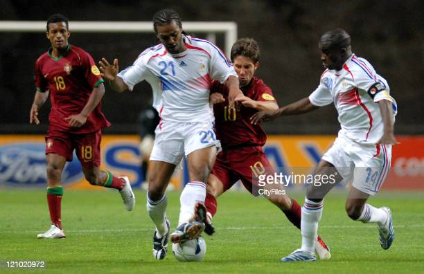 Nani of Portugal Florent SinamaPongille of France Joao Moutinho of Portugal and Antonio Mavuba of France during the UEFA European Under21...