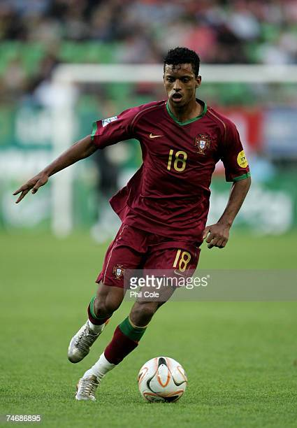 Nani of Portugal in action during the UEFA European Under21 Championships match between Israel U21 and Portugal U21 at the Groningen on June 16 2007...