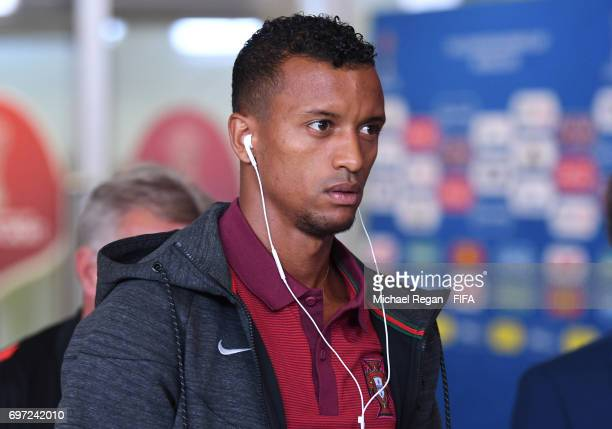 Nani of Portugal is seen on arrival at the stadium prior to the FIFA Confederations Cup Russia 2017 Group A match between Portugal and Mexico at...