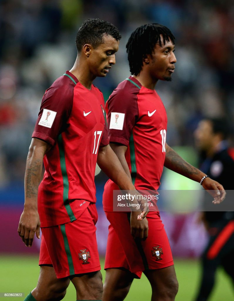 Nani of Portugal looks dejected after missing his sides third penalty during the FIFA Confederations Cup Russia 2017 Semi-Final between Portugal and Chile at Kazan Arena on June 28, 2017 in Kazan, Russia.